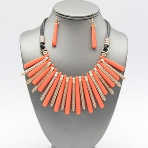 Jewelry - Orange Coral and Gold Fringe Necklace Set